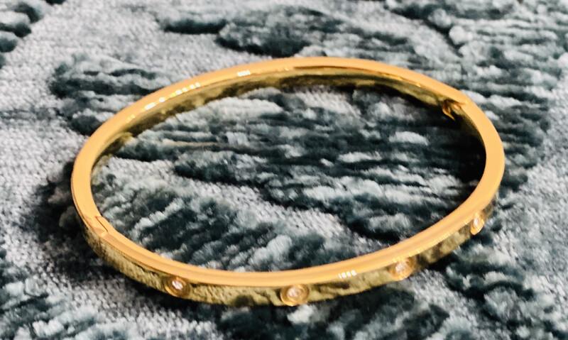 Bracelet 5 Stone Inset Stainless Steel