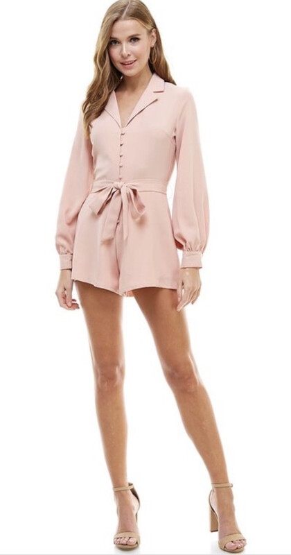 Romper - Pink Notched Collar Button Front