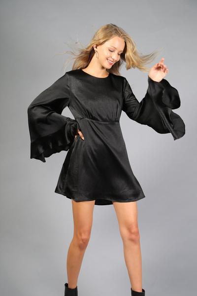 Black Satin Mini Dress Long Bell Sleeve