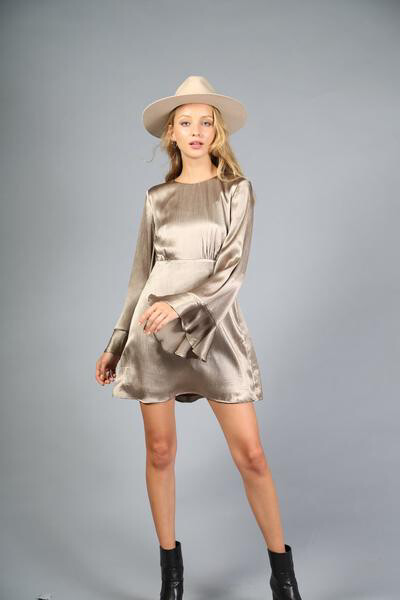 Mocha Satin Mini Dress Long Sleeve Bell