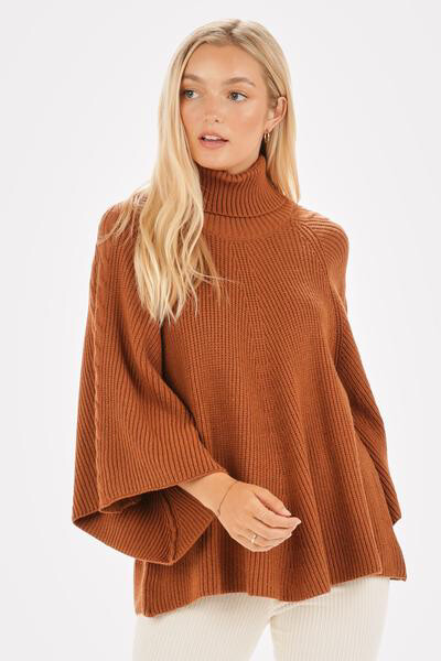 Rust Bell Sleeve Turtleneck Sweater