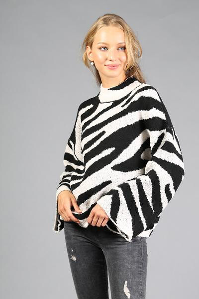 Sweater Black/Cream Zebra Bell Sleeve