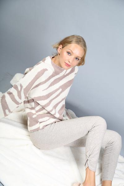 Sweater Mocha Zebra Bell Sleeve