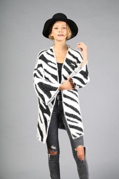 Cardigan Fuzzy Zebra Print Blk/Wht