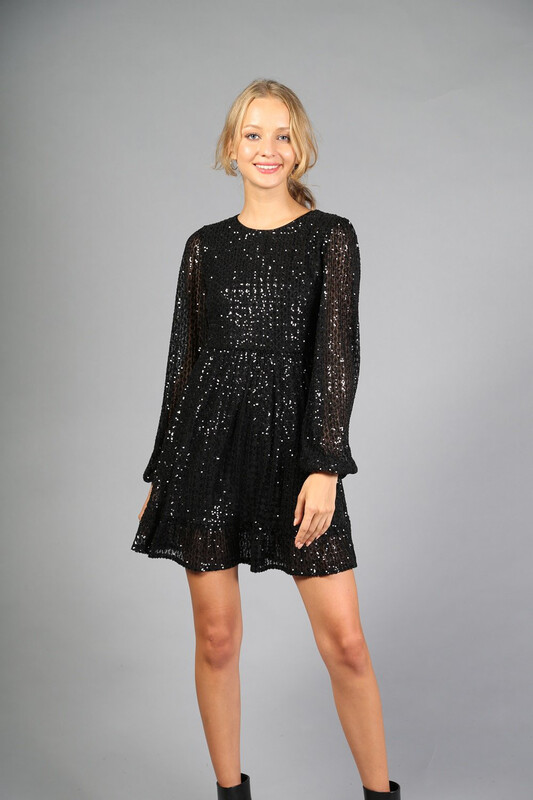 Black Sequin Mini Dress with Tiered Skirt