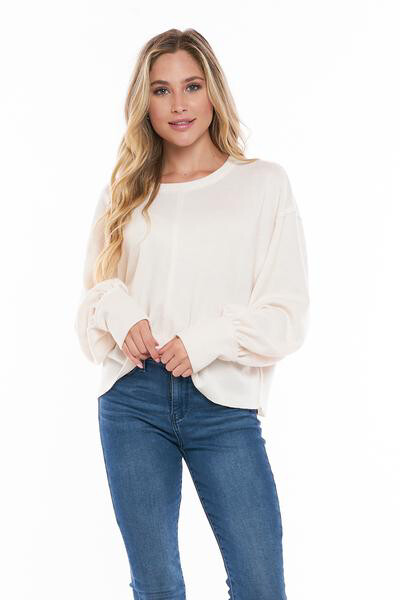 Cream Balloon Sleeve Waffle Knit Top