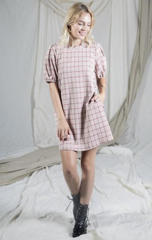 Balloon Sleeve Plaid Knit Mini Dress