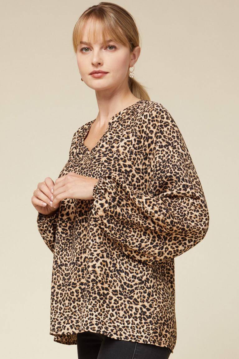 Leopard Print Vneck Long Sleeve Blouse with Pleats