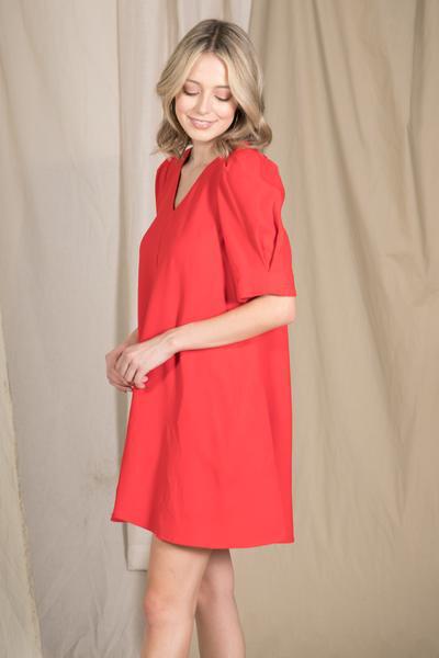 Mutton Sleeve A Line Mini Dress with Pocket (Red)