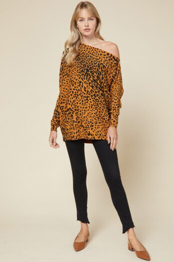 Top Camel Cheetah Off Shoulder