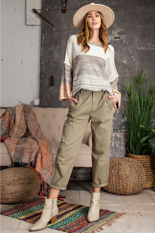 Washed Twill Mommy Jean Pant Sage Grey