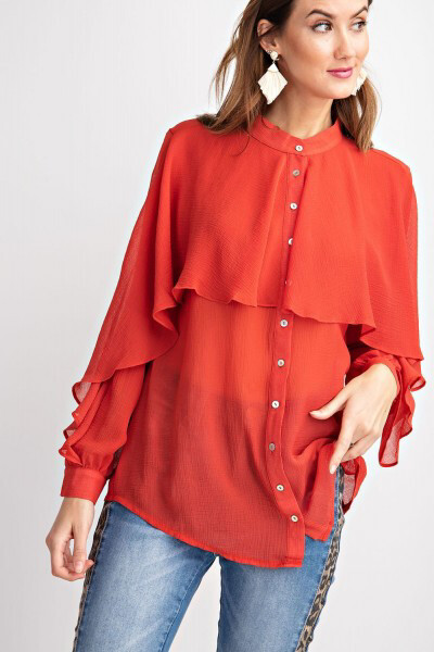 Top - Rasberry Crinkle Chiffon Button Down
