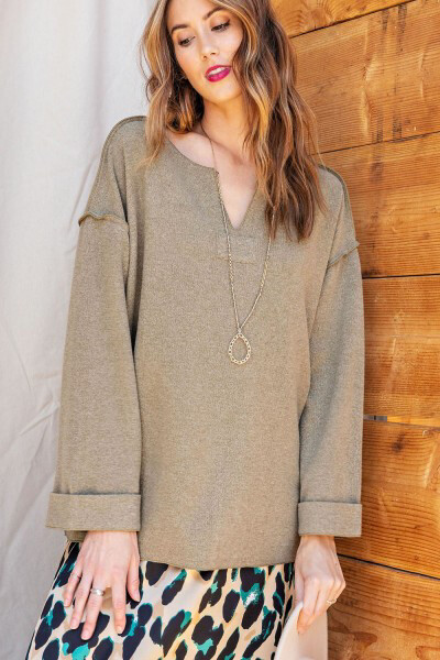 Top - LS Soft Brushed Heavy Hacci Pullover Olive