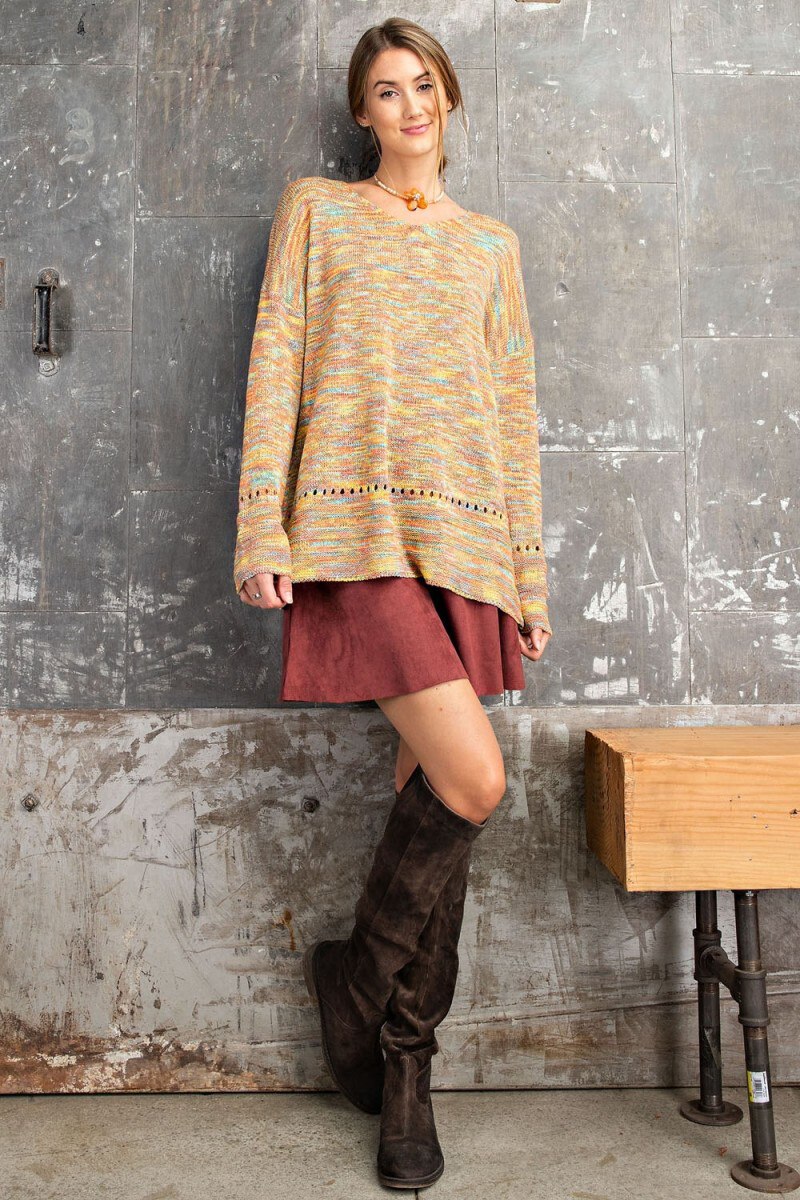 Multicolor Knit LS Sweater