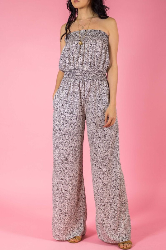 Dotted Print Strapless Smocked Jumpsuit