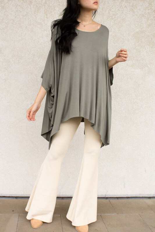Top Flowy Poncho with Unfinished Hem Lt. Olive