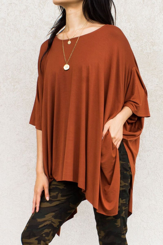 Top Dolman Sleeve Assymmetrical Copper