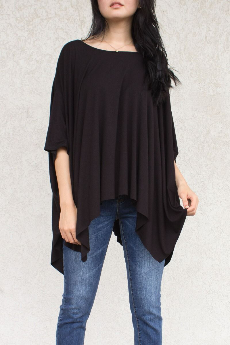 Top Dolman Sleeve Assymetrical Black