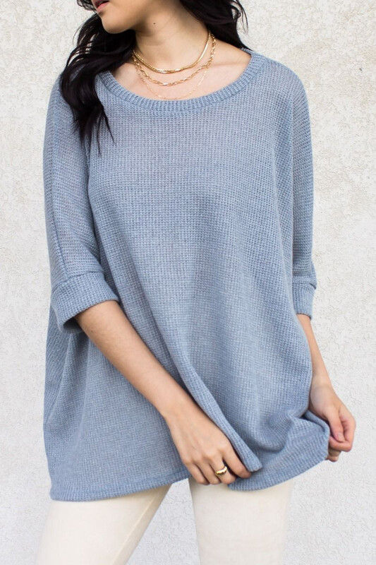 Top Knit Round Neck 3/4 Sleeve