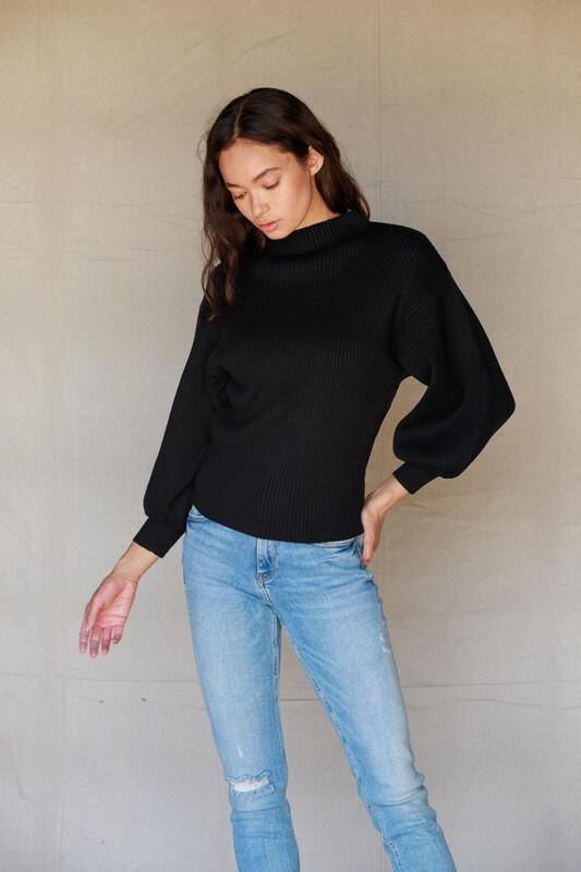 Sweater Black Mock Neck