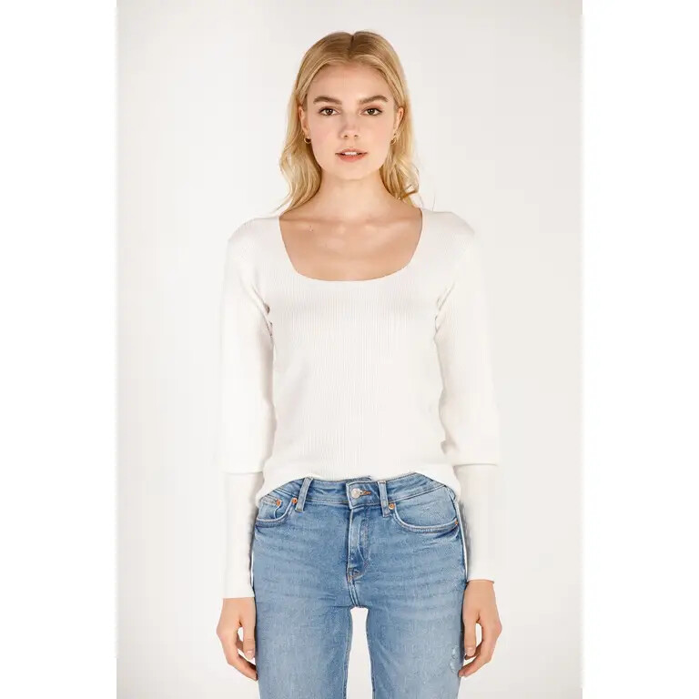 Square Neck Sweater Ivory