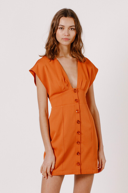Dress - Button Down MIni Rust