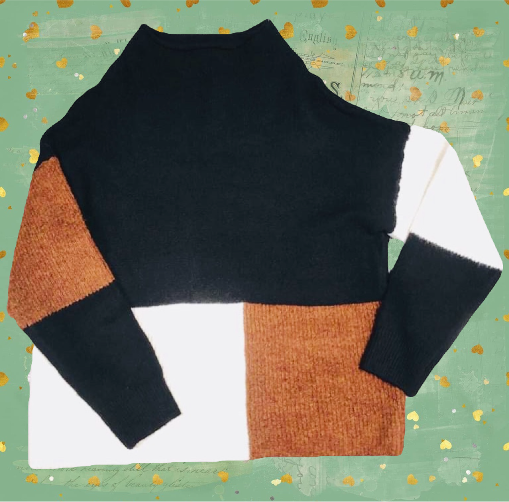 Sweater Black Combo Color Block