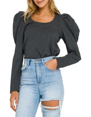 Pleated Charcoal Puff Long Sleeve Top