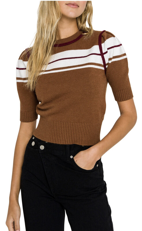 Brown Striped Puff Sleeve Knit Top