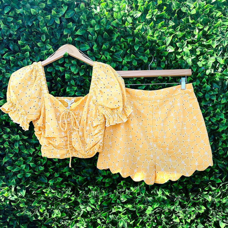 Eyelet Rutched Yellow Crop Top