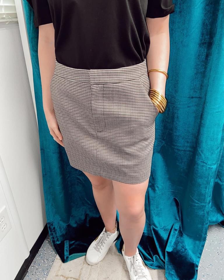 Brown Check Mini Skirt