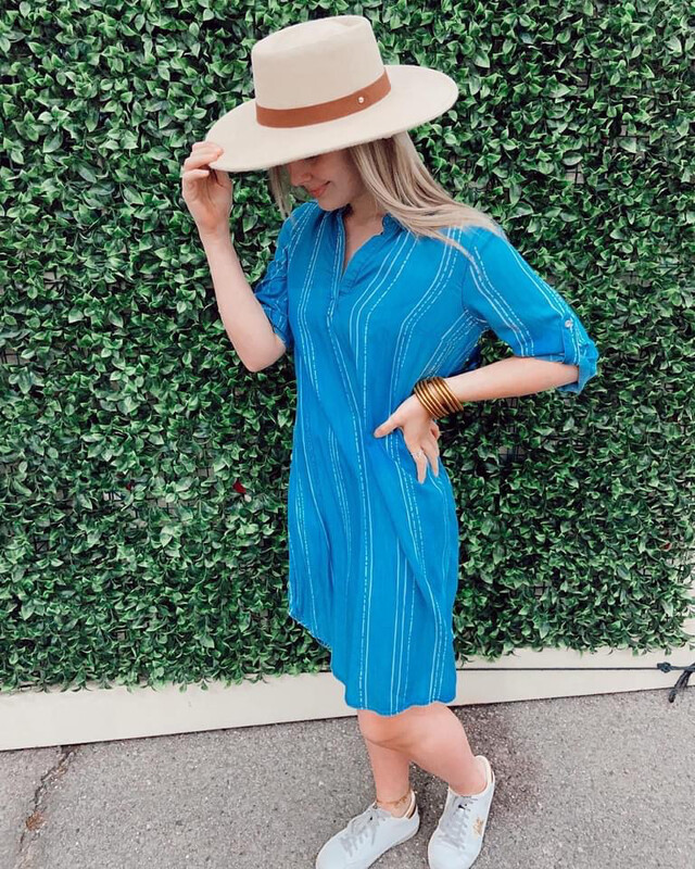Dress - Medium Wash Denim/White Tencel Stripe