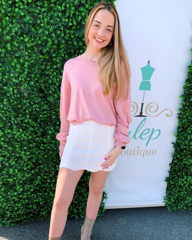 Sweater V Neck Dolman Pink