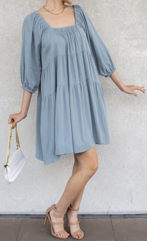 Dress Tencel Square Neck Blue