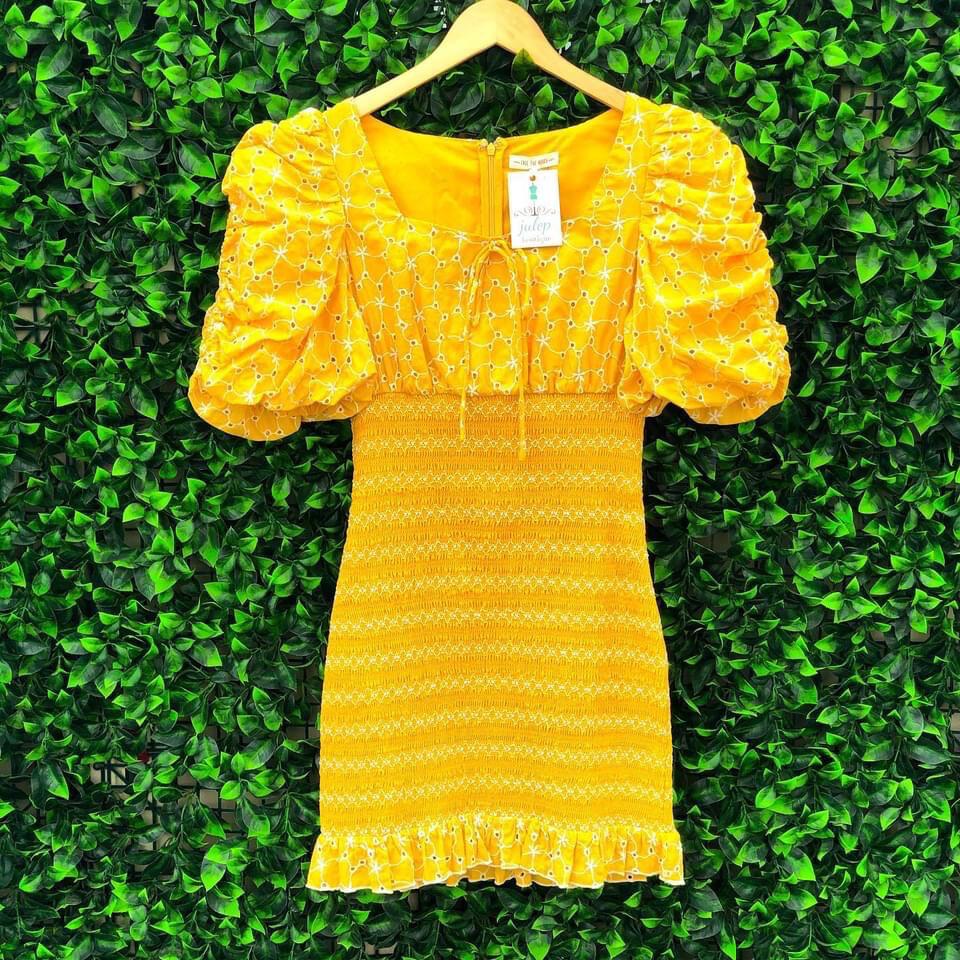 Eyelet Smocked Yellow Mini Dress