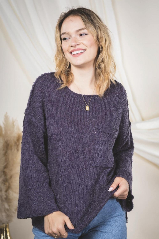 Denim Detail Sweater