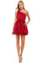 Burgundy Pouf Dress