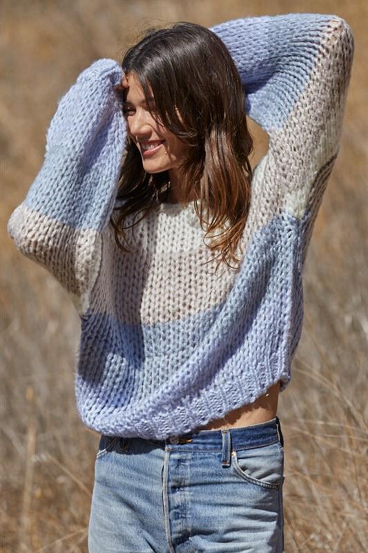 Periwinkle Striped Yarn Sweater
