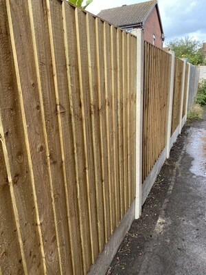 """Fencing Set Deal 1! 5ft Close Board Panel, 8ft concrete Slotted Post, 12""""concrete Gravel Board and Post Mix"""