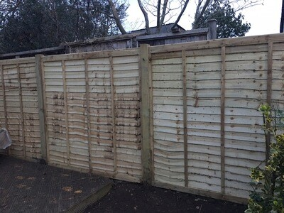 "Fencing Set Deal 2! 6ft X 6ft Lap Panel, 4"" X 8ft Wooden Post 1 & a bag of Post Mix"
