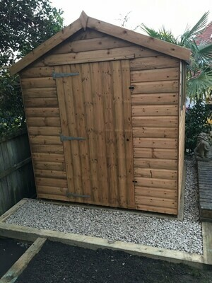 Shed Deal 1! 6 x 4 Apex Shed with Concrete Base and Fitting