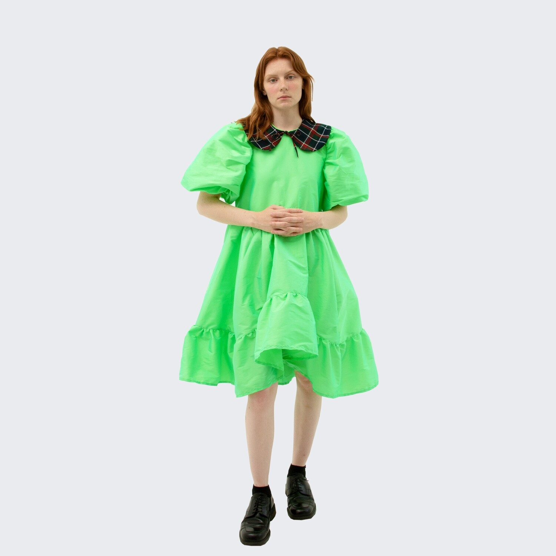green symmetrical baby dress