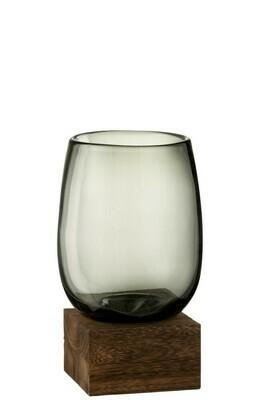 Vase sur pied verre et bois