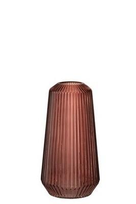 Vase cylindre rayures relief verre bordeaux