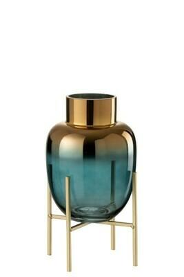 Vase sur pied verre turquoise