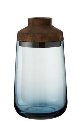 Vase verre bois et bleu