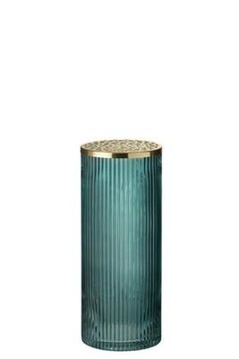 Vase cylindre verre bleu avec couvercle