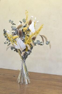 Bouquet de fleurs séchées tons jaunes