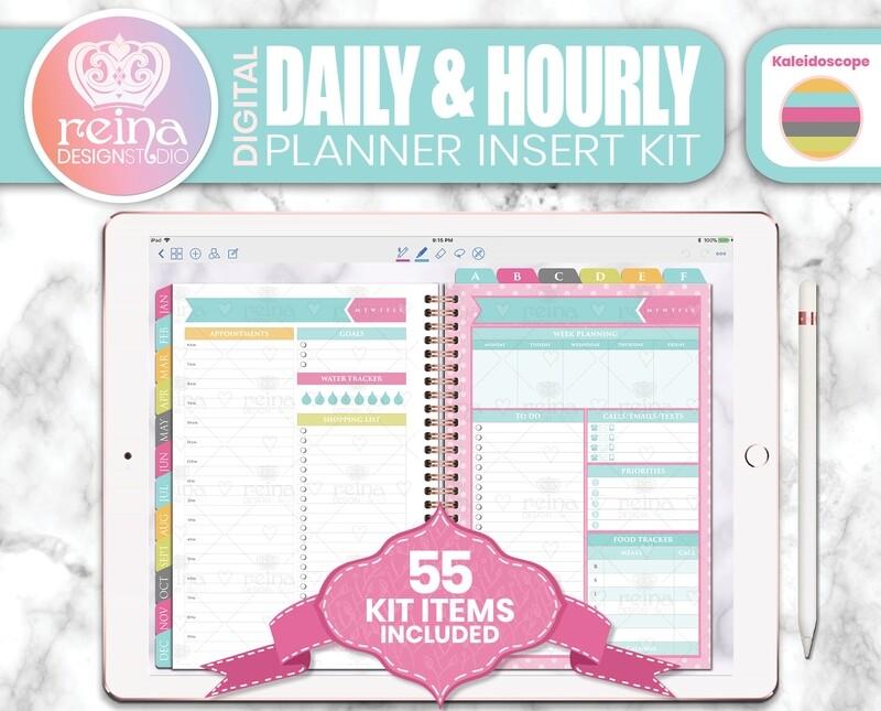Daily & Hourly Digital Planner Insert Kit | Kaleidoscope