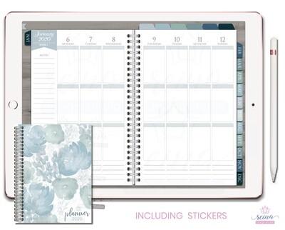2020 Deluxe Digital Planner   Vertical, Silver, Blue Slate